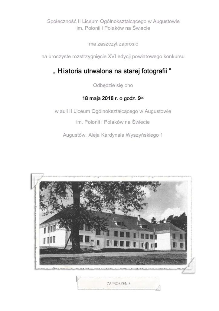 Zaproszenie Historia 2018