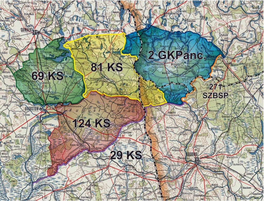 Obszar objęty operacją wojskową w I fazie Obławy Augustowskiej (źródło:https://pamyat-naroda.ru/